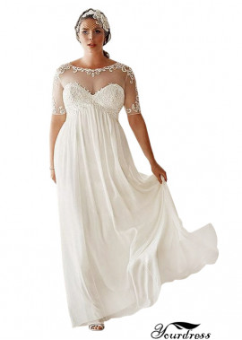 Cheap Scoop Neck Plus Size Wedding Dresses Ireland