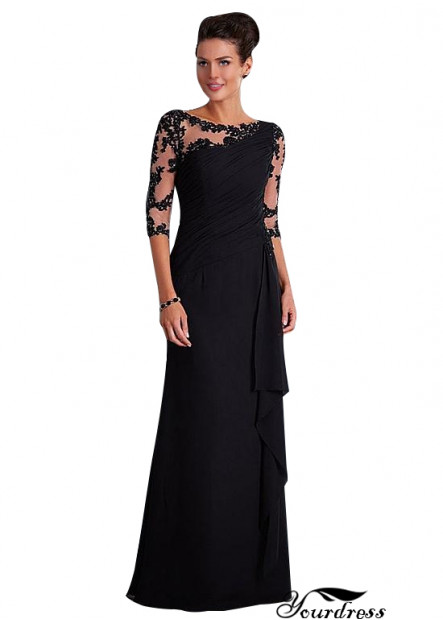 Yourdress UK Black Mother Of The Bride Dress With Half Sleeves