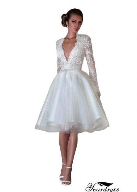 Yourdress Short Deep V Ball Gowns With Long Sleeves Cheap