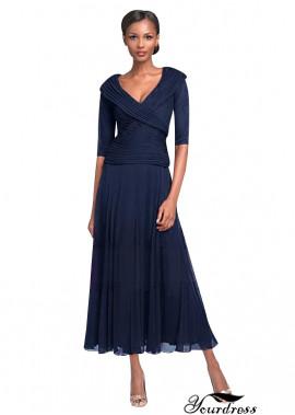Yourdress Navy Mother Of The Bride Dresses Tea Length V Neck