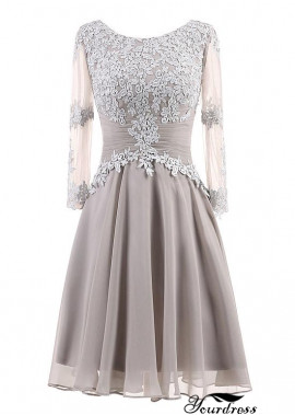 Yourdress Short Grey Mother Of The Bride Dress With Lace Flower
