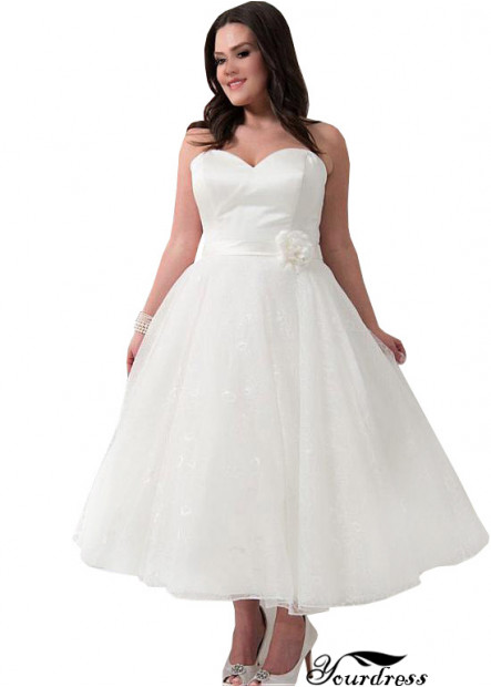 Yourdress Short Plus Size Wedding Dress Tea Length UK