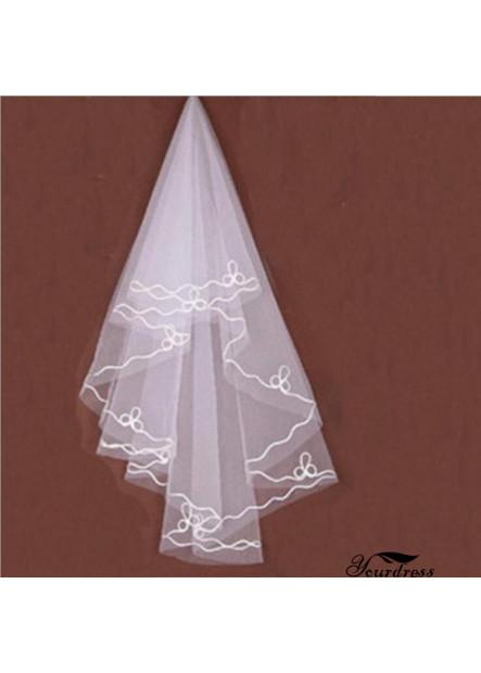 Bridal veil white silk line 1.5m single layer wedding veil T901554350040