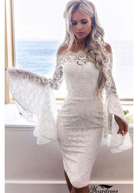 Off Shoulder Hollow Lace Overlay Flare Sleeve Sexy Bodycon Party Dress T901553838048